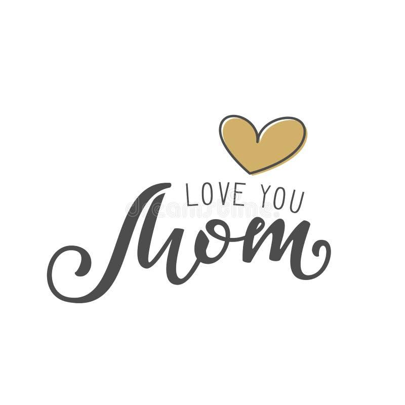 Рукописная литерность влюбленности вы мама на белой предпосылке иллюстрация вектора