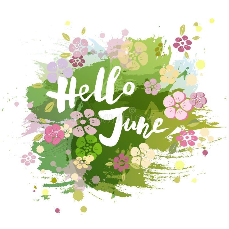 Рукописная литерность здравствуйте! июнь изолированный на акварели крася имитационную предпосылку иллюстрация штока