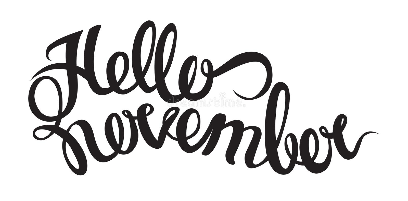 Рукописная литерность от здравствуйте! ноября Объекты изолированные на белой предпосылке бесплатная иллюстрация