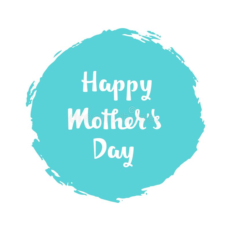 Рукописная литерность счастливого дня матерей на голубой предпосылке бесплатная иллюстрация