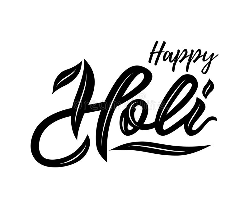 Рукописная литерность счастливого Holi на белой предпосылке черный цвет изолировано иллюстрация штока