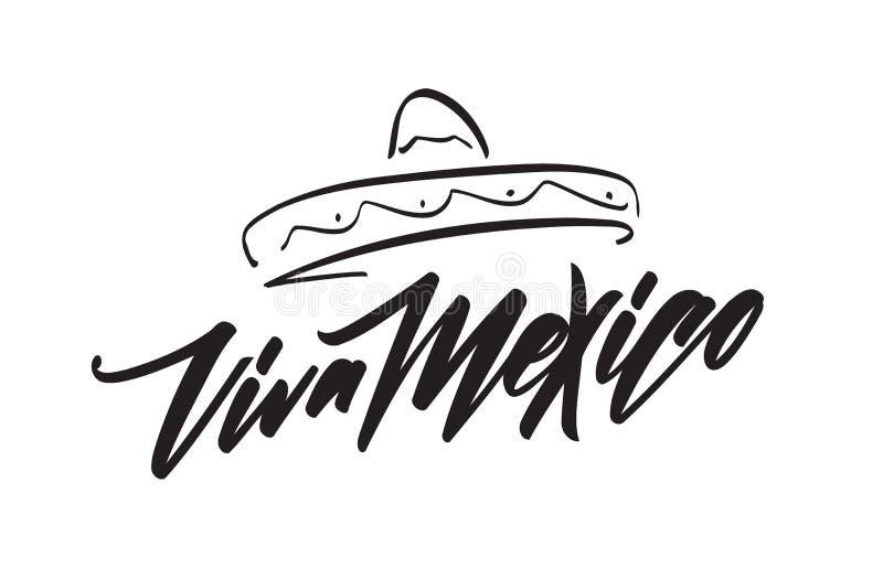Рукописная литерность традиционного мексиканского праздника фразы Viva Мексики с Sombrero нарисованным рукой иллюстрация вектора