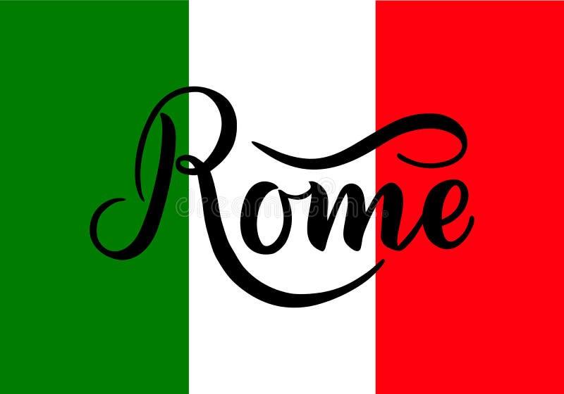 Рукописная надпись Рим и цвета национального флага Италии на предпосылке Литерность нарисованная рукой каллиграфическо бесплатная иллюстрация