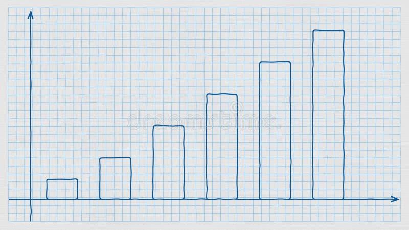 Рукописная поднимая диаграмма в виде вертикальных полос на checkered бумаге предмет дег иллюстрации евро коричневого цвета голубо иллюстрация вектора