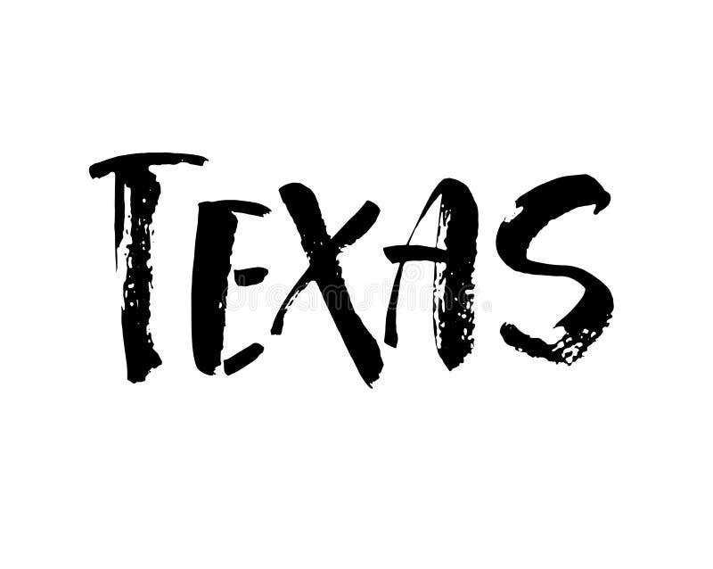 Рукописное имя Техас американского штата Каллиграфический элемент для вашего дизайна Современная каллиграфия щетки вектор бесплатная иллюстрация