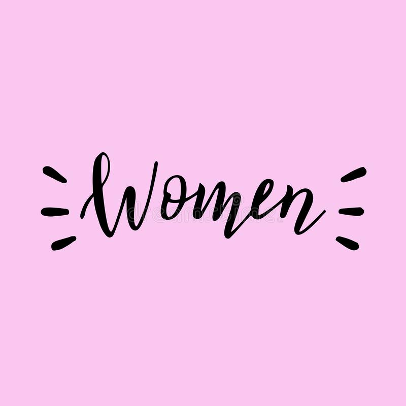 Рукописное слово женщин Современное помечая буквами феминист знамя иллюстрация вектора
