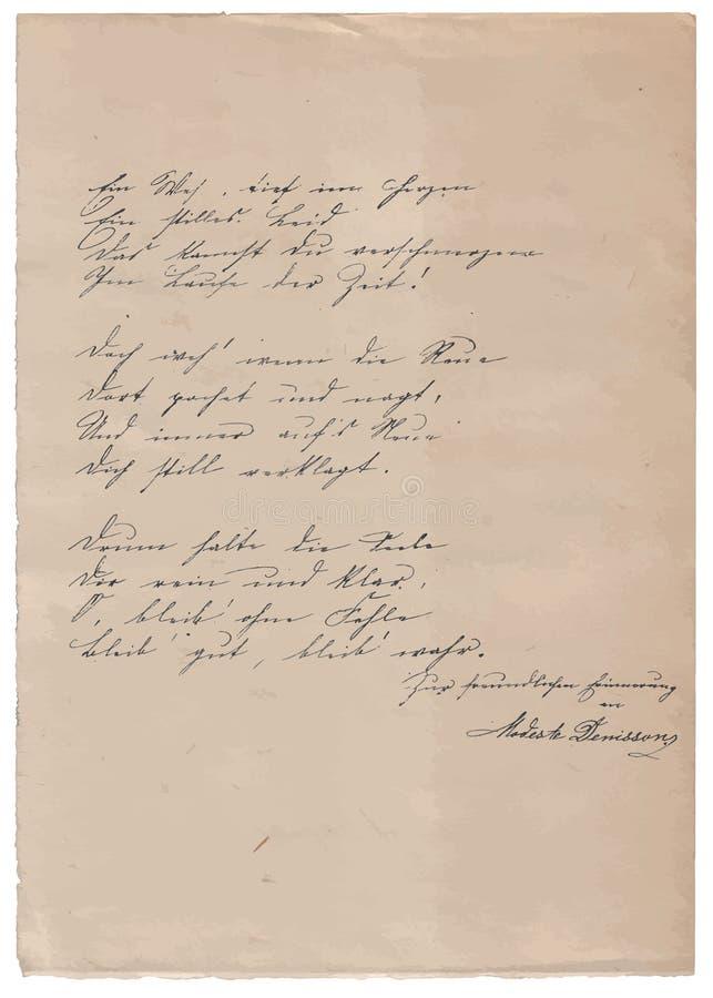 Рукописное стихотворение на старой бумажной предпосылке иллюстрация штока