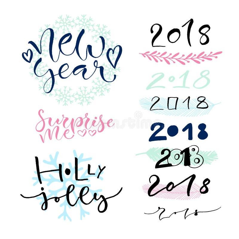 Рукописные украшения поздравительной открытки Нового Года каллиграфическо иллюстрация вектора