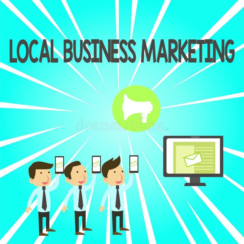 Рукописный текст Локальный бизнес-маркетинг Понятие означает локализованную спецификацию в характеристике магазина SMS Email Mark бесплатная иллюстрация