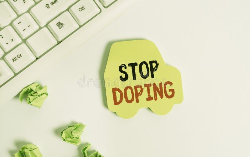 Рукописный текст: остановка допинга Понятие означает не использовать запрещенные атлетические перфоранализационные препараты стоковые фото