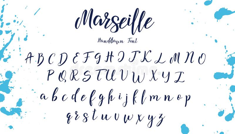 Рукописный шрифт каллиграфии элементы алфавита scrapbooking вектор вычерченные письма руки бесплатная иллюстрация