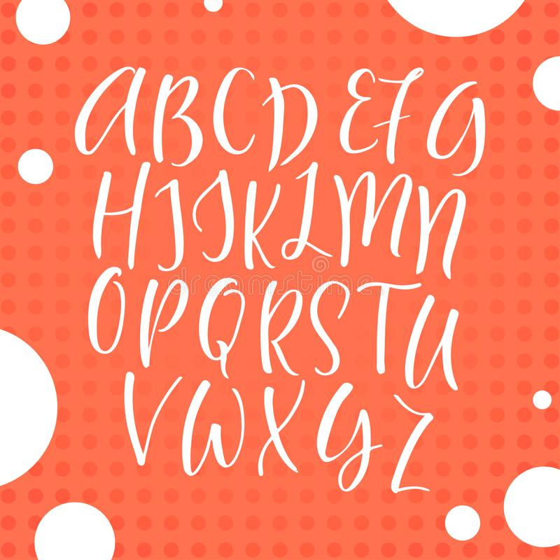 Рукописный шрифт каллиграфии элементы алфавита scrapbooking вектор вычерченные письма руки иллюстрация штока