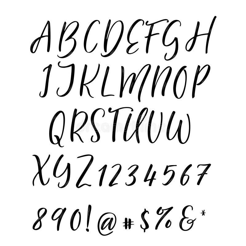 Рукописный шрифт каллиграфии элементы алфавита scrapbooking вектор вычерченные письма руки иллюстрация вектора