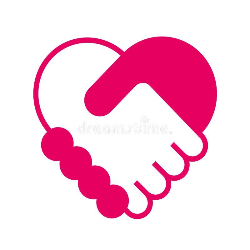 Рукопожатие в форме сердца бесплатная иллюстрация