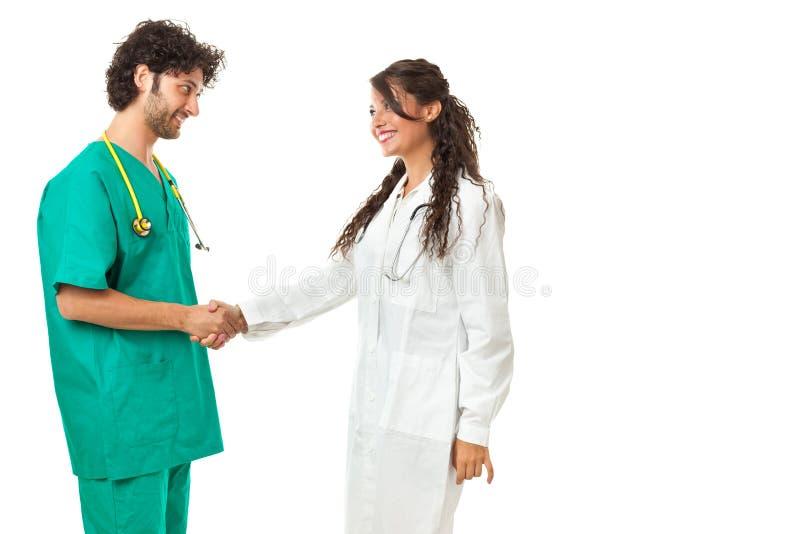 Рукопожатие здравоохранения стоковое изображение rf