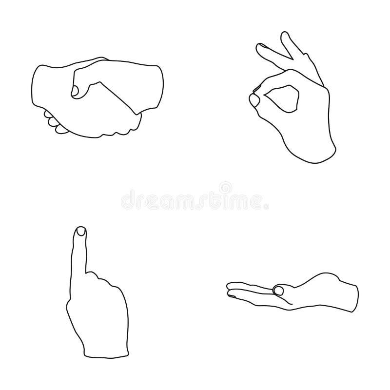 Рукопожатие, о'кей, индекс вверх, ладонь Значки собрания gesturesv руки установленные в плане вводят иллюстрацию в моду запаса си бесплатная иллюстрация