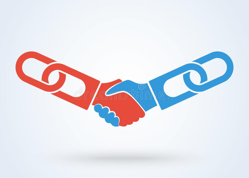 Рукопожатие, сыгранность вручает вектор логотипа Концепция дела рукопожатия согласования технологии Blockchain бесплатная иллюстрация