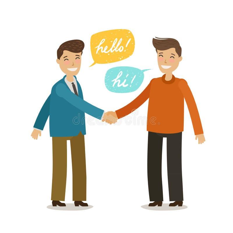 Рукопожатие, тряся руки, концепция приятельства Счастливые люди трясут руки в приветствии Иллюстрация вектора шаржа в квартире иллюстрация штока