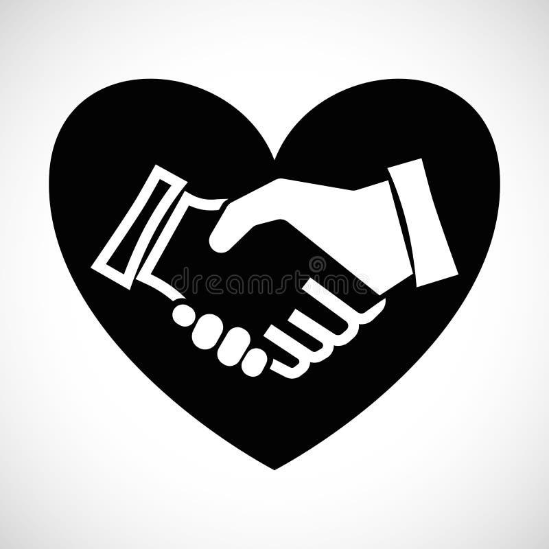 Рукопожатие формы значка с сердцем иллюстрация вектора