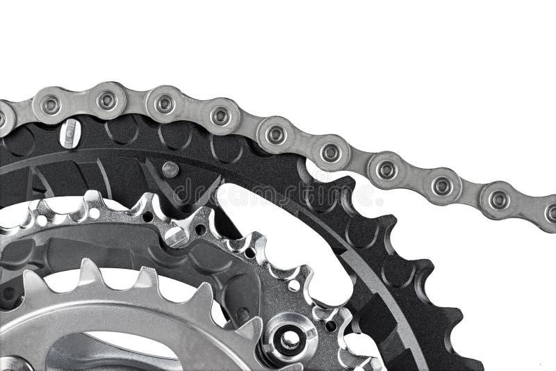 Рукоятка и цепь велосипеда стоковые фотографии rf