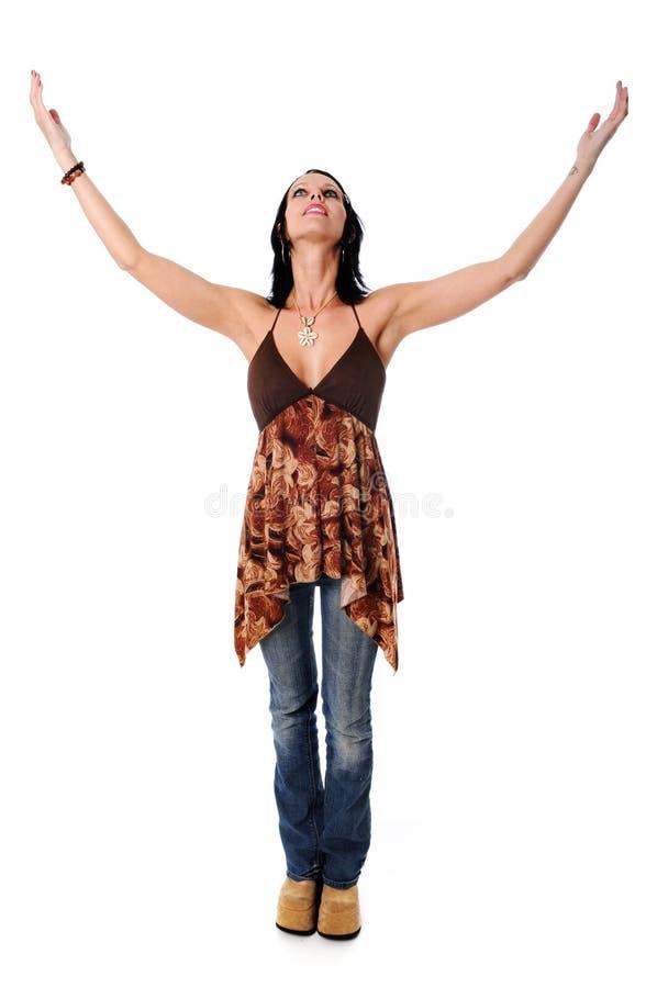 рукоятки подняли женщину стоковая фотография