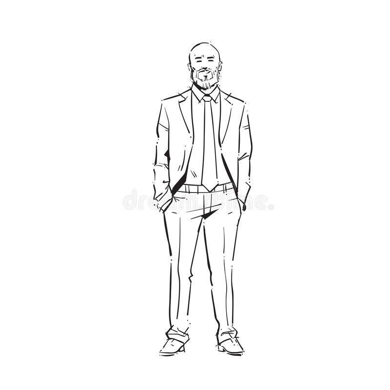 Рук владением бизнесмена бизнесмен концепции исполнительных карманный во всю длину на белом эскизе силуэта притяжки руки предпосы иллюстрация штока