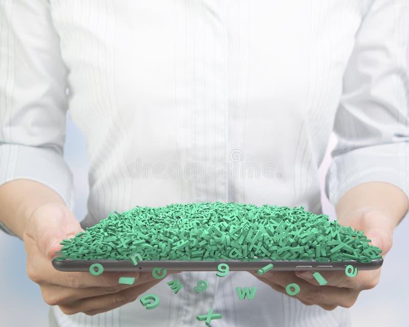 _рук держать умн планшет с огромн зелен характер Большие данные стоковые фотографии rf