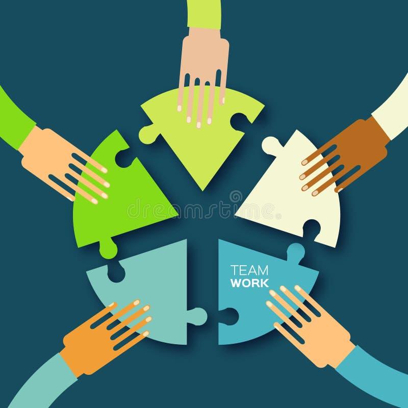 5 рук совместно объединяются в команду работа иллюстрация штока