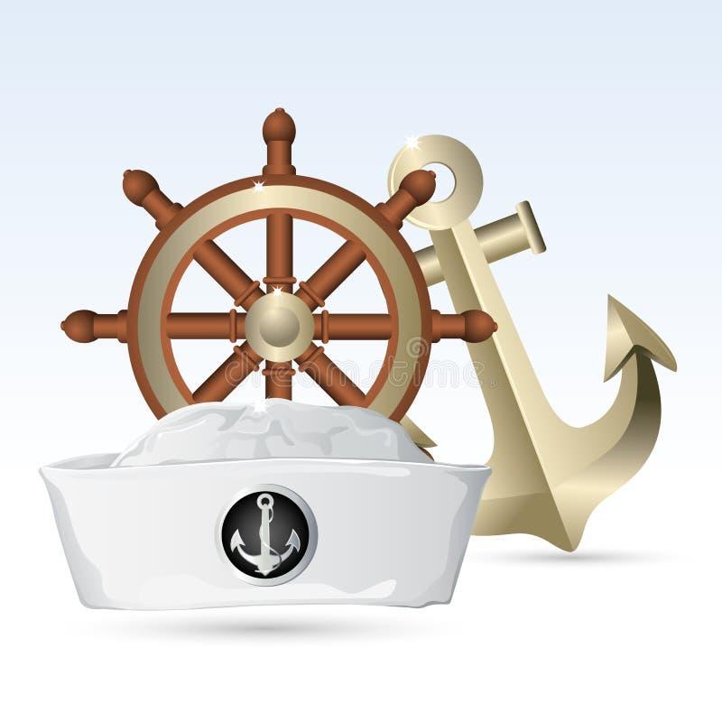рулевое колесо матроса шлема анкера иллюстрация вектора