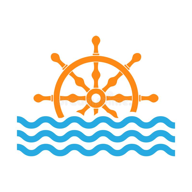 Руль с волнами моря также вектор иллюстрации притяжки corel иллюстрация вектора