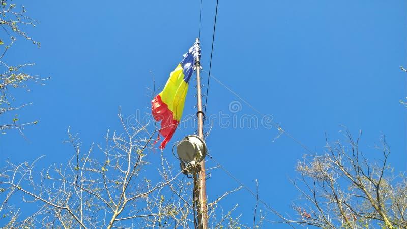 Румынский флаг на горе Тампа, Brasov стоковая фотография