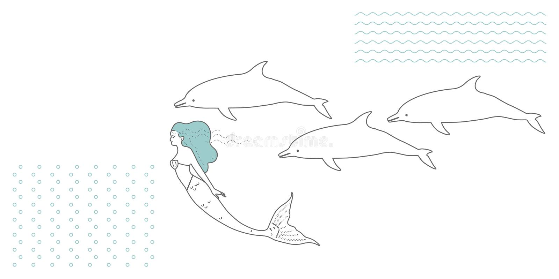 Русалка в современном минималистичном стиле иллюстрация штока