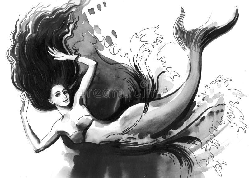 Русалка заплывания иллюстрация вектора
