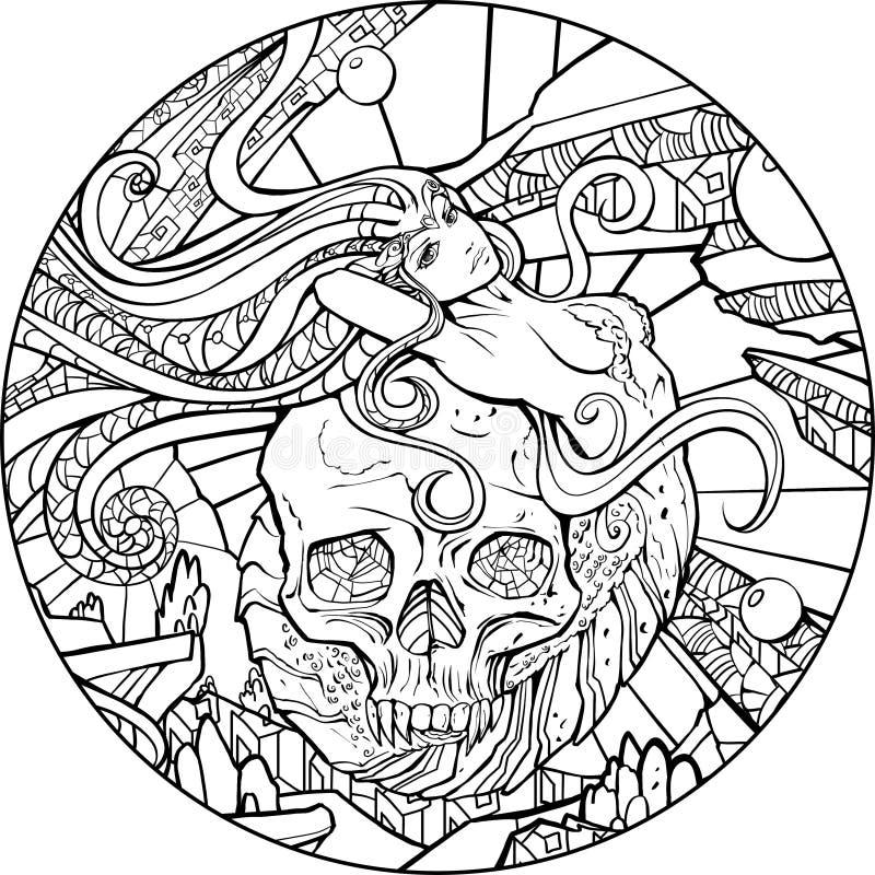 Русалка и череп иллюстрация штока