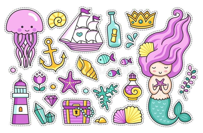 Русалка, медуза, милые морские животные Комплект стикеров шаржа для детей иллюстрация вектора