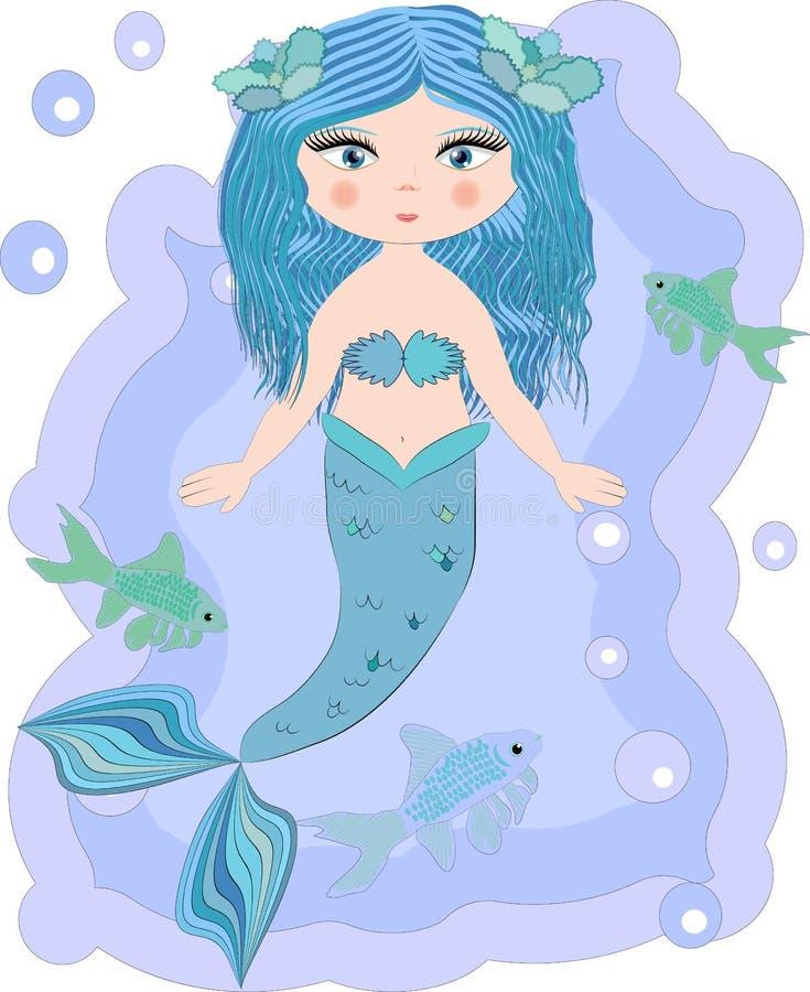 Русалка мультфильма красивая маленькая в венке Сирена Тема моря иллюстрация вектора