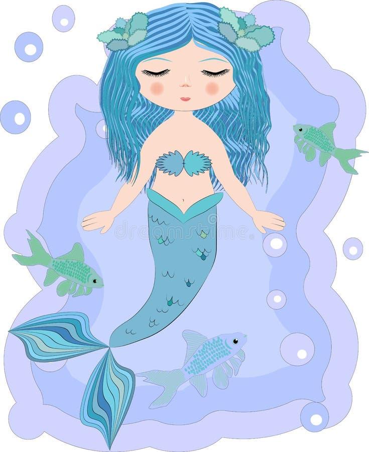 Русалка мультфильма красивая маленькая в венке Сирена Тема моря иллюстрация штока