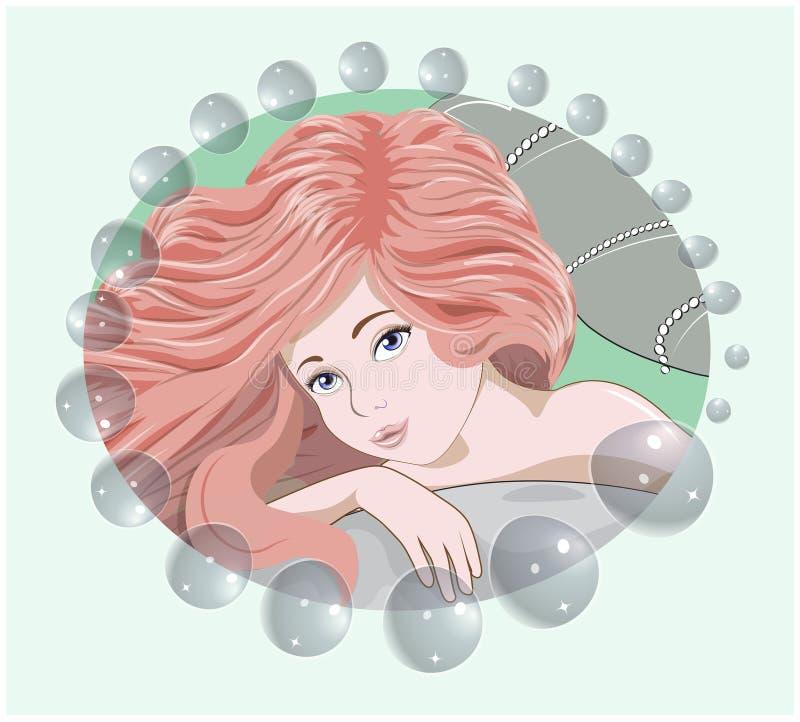 Русалка с пузыри бесплатная иллюстрация