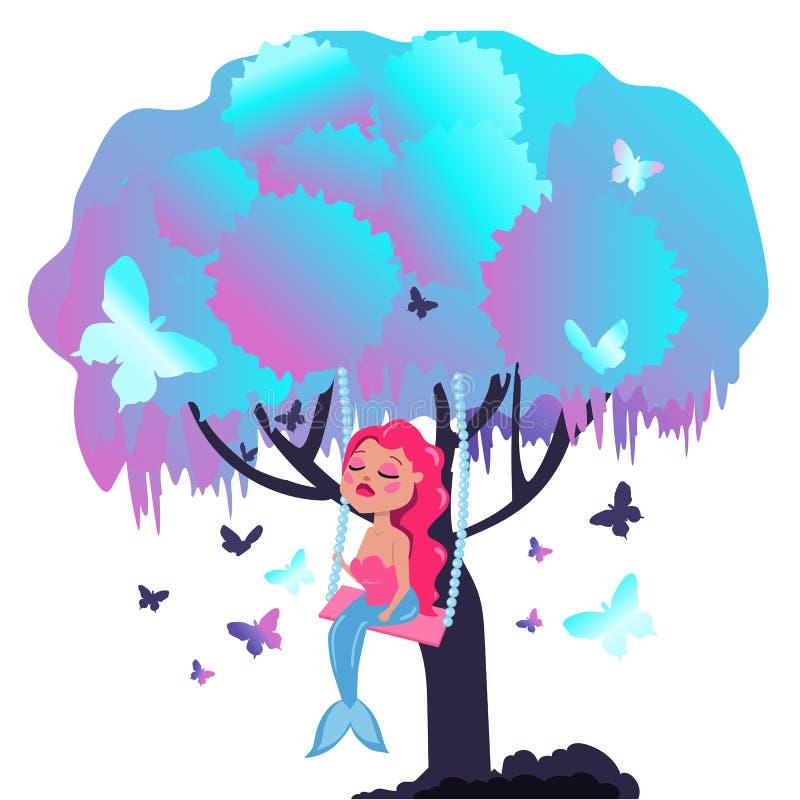 Русалка с розовыми волосами сидит на ветви дерева Фантастическое дерево с бабочками и русалкой бесплатная иллюстрация