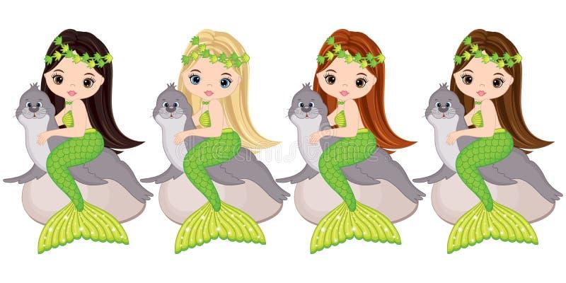 Русалки вектора милые маленькие с морскими котиками Русалки вектора иллюстрация штока