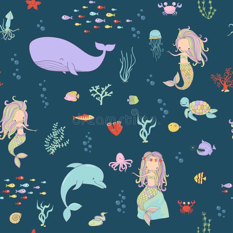 Русалки и морские животные на темной предпосылке иллюстрация штока