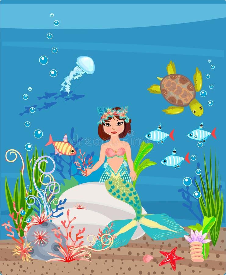 Русалка и коралловый риф иллюстрация штока