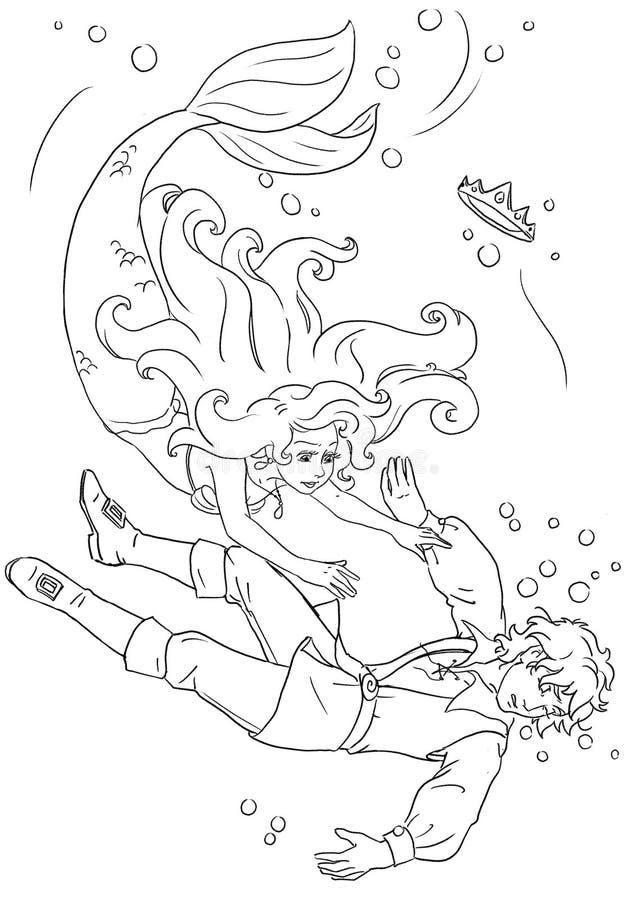 Русалка и принц иллюстрация штока