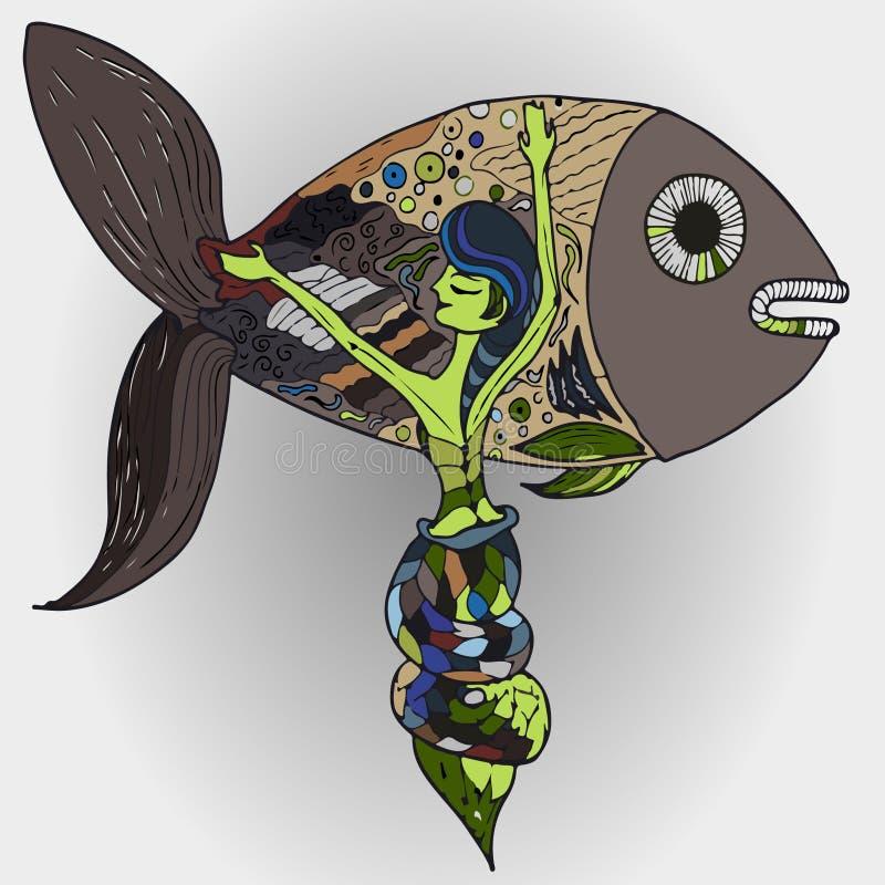 Русалка и рыбы стоковые изображения rf