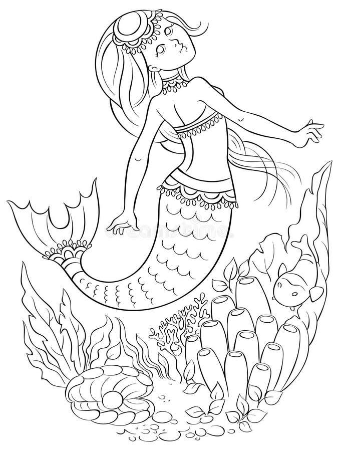 Русалка плавая под водой в океане Страница расцветки иллюстрация штока
