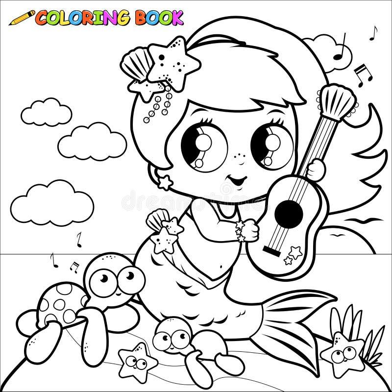 Русалка страницы расцветки морем играя музыку с ее гитарой иллюстрация штока