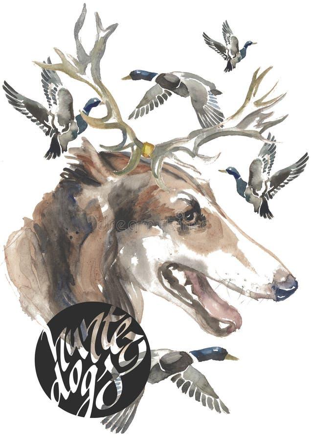 Русская борзая, охотник выслеживает дизайны карточки, editable логотип, вы можете вписать ваши логотип или текст бесплатная иллюстрация