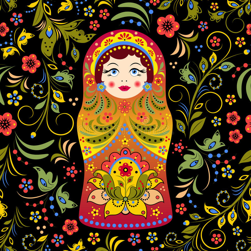 Русская кукла иллюстрация штока
