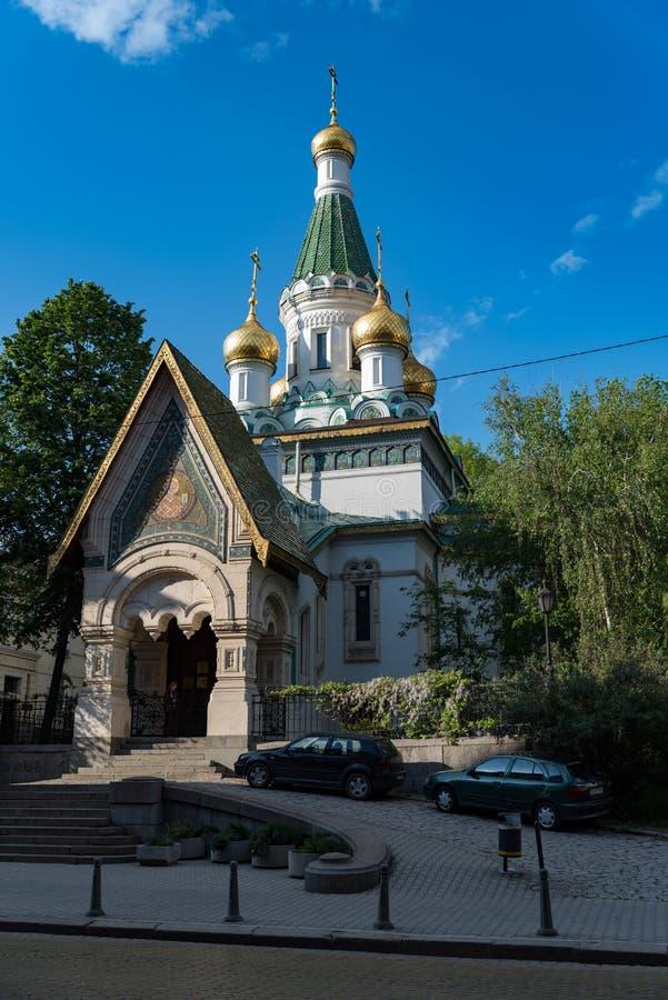 Русская церковь, известная как церковь St Nicholas Чуд-создатель Русская православная церковь в центральной Софии, Болгарии стоковое фото rf