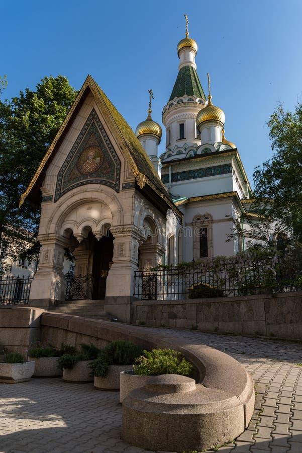 Русская церковь, известная как церковь St Nicholas Чуд-создатель Русская православная церковь в центральной Софии стоковые фотографии rf
